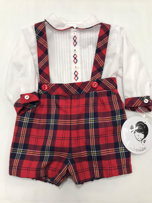 Sarah Louise Shirt With Tartan Short and Braces set