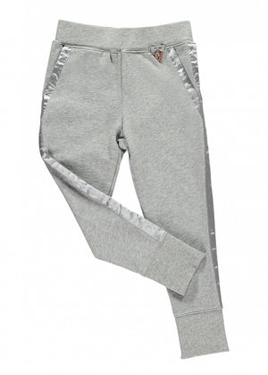 Angels Face  slim fit joggers made from soft stretchy cotton featuring satin trim down each leg and over pockets. Stretchy waistband with angel face charm and bow detail.