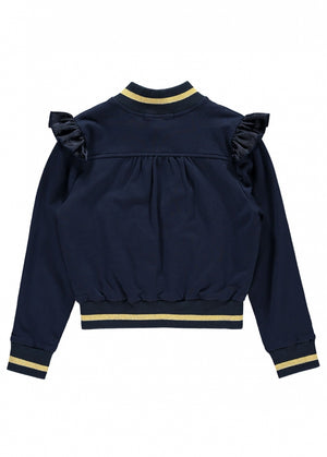 Angels Face  zip fastening Tracksuit jacket with stunning satin ruffle frills and gold details. Has two satin trimmed pockets.