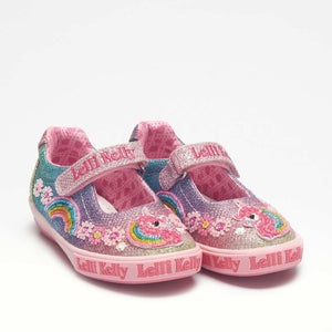 Lelli Kelly LK 1082 Rainbow Unicorn Dolly Canvas Shoe SS20