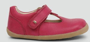 Bobux Louise Dark Pink Shoes. Classic navy T-bar. The single strap provides an easy adjustable fit while the pink leather will compliment any outfit.  Features:  100% leather upper and lining Flexible lightweight sole