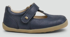 Bobux Louise Navy Shimmer Shoes. Classic navy T-bar. The single strap provides an easy adjustable fit while the shimmery leather will compliment any outfit. Features:  100% leather upper and lining Flexible lightweight sole