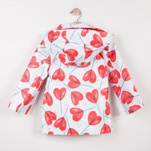 Catimini Heart Print Rubber Coated Rain Jacket