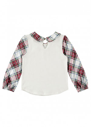 Angels Face soft cotton jersey top with long tartan satin sleeves and collar. Comes with a signature Angels Face charm and bow detail to front.