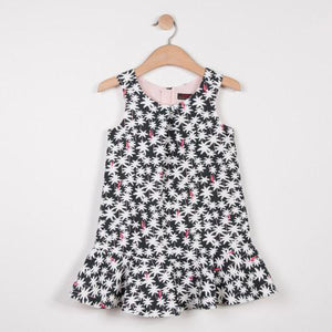 Catimini Waffle Fabric Black, White & Pink Dress