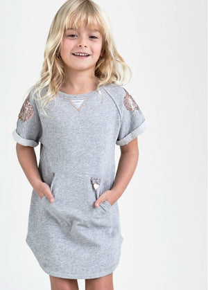 NEW Angels Face Sally Sweat Dress, Grey Marl