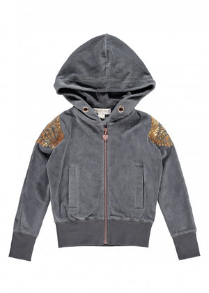 Angel Face  Hoody that features stunning angel wing to shoulders. Comes with a rose gold coloured zip.