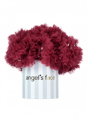 Angels Face stella burgandy tutu with gold star details