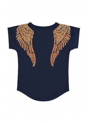 NEW Angels Face Wendy SS Slouch Top, Navy