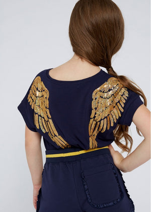 Angels Face Wendy SS Slouch Top, Navy