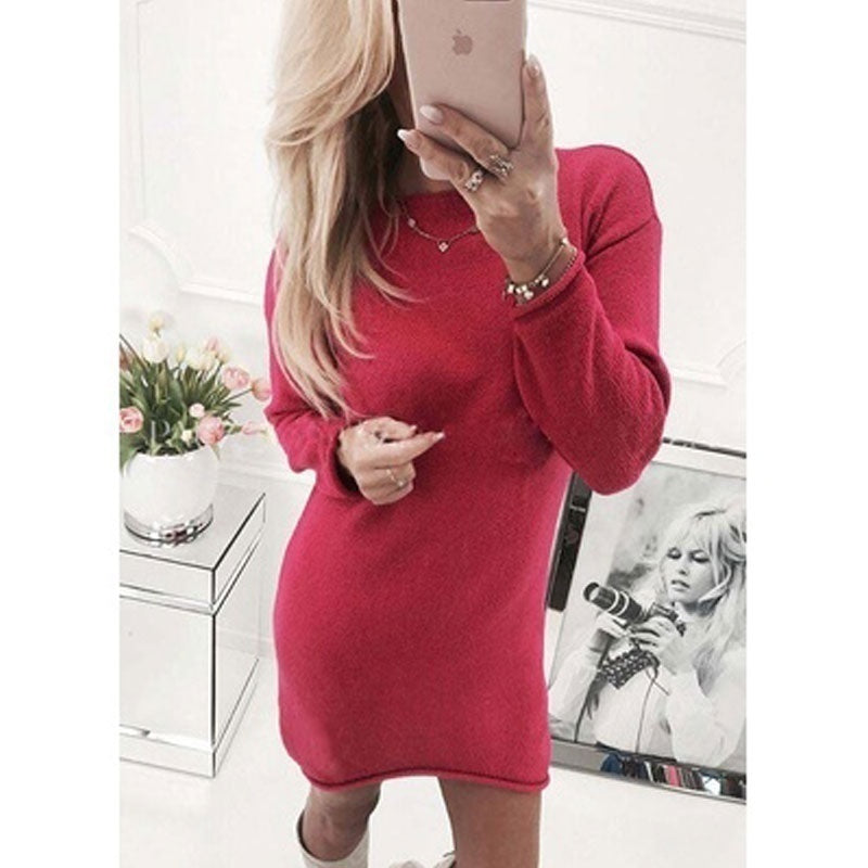 515fe0bbb1 ... 2018 Autumn Long Sleeve Dress Lady Crew Neck Solid Color Knitted  Sweaters Midi Dress Women Warm ...