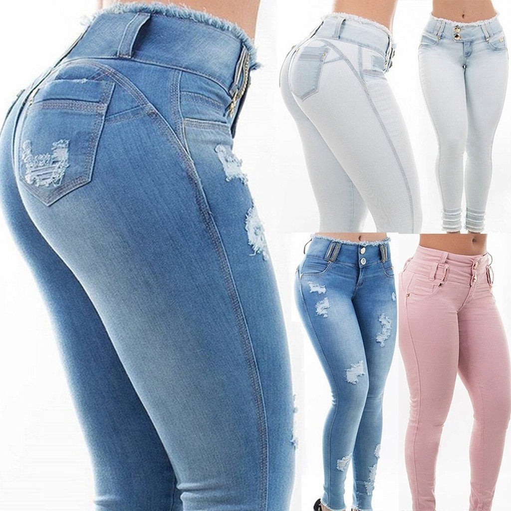 94dfd3be585 ... 3 Color Autumn and Winter Women New Fashion Sexy Skinny High Waist Hole  Jeans Pants Casual