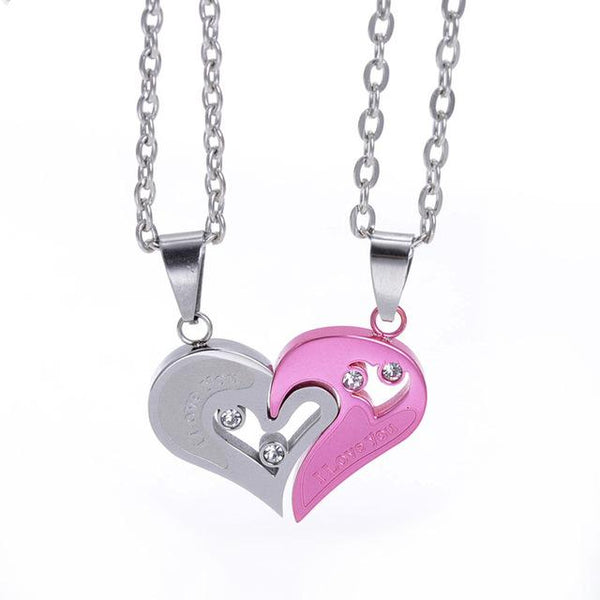and half necklace jewelry with diamond set steel p necklaces couples couple pendant hers women for idream cz matching titanium heart his