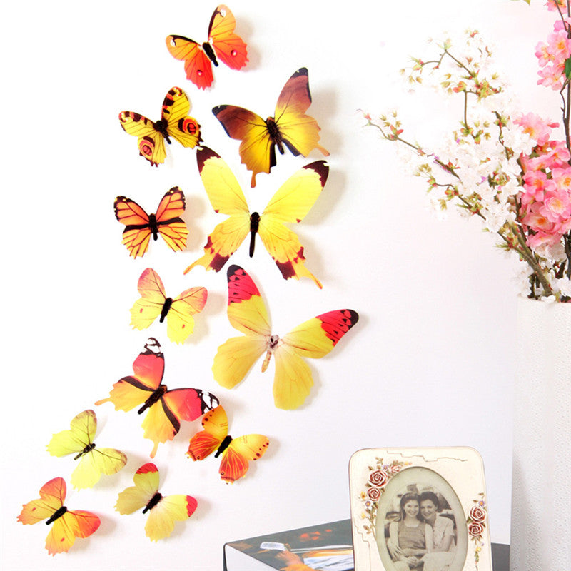 ... 12Pcs/Lot 3D DIY Wall Sticker Stickers Butterfly Home Decor For Fridge  Kitchen Living Room