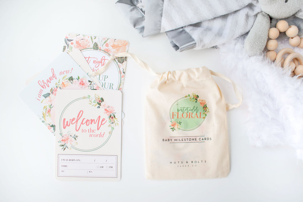Baby Milestone Cards: Watercolor Floral