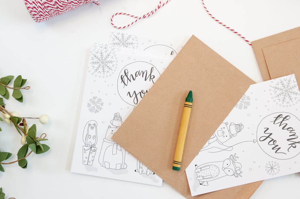 Holiday Woodland Thank You Cards for Kids