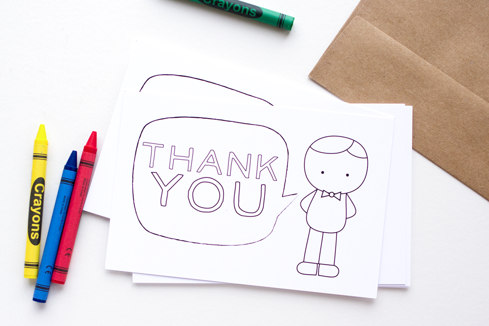 Thank You Cards for Kids - Fill-In/Color-In