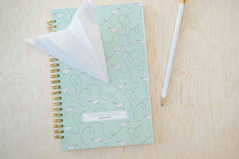 Personalized Paper Airplane Notebook