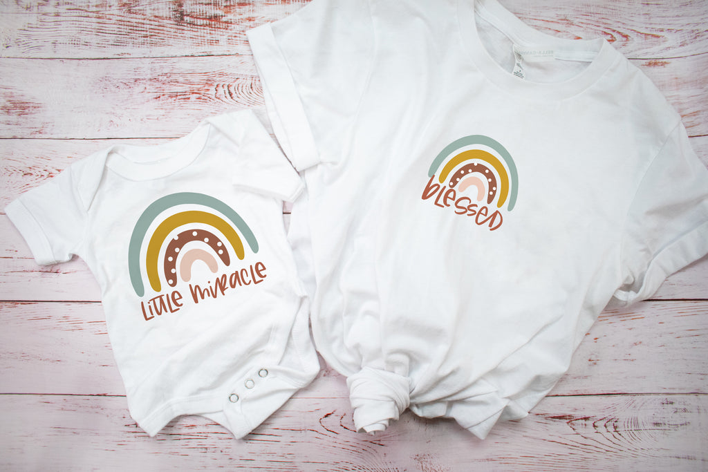 """Little Miracle"" Rainbow One Piece Bodysuit"