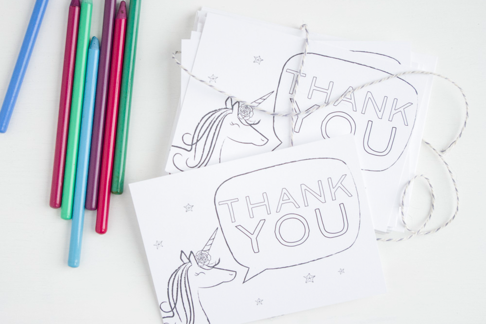 Unicorn Thank You Cards - Color-In/Fill-In