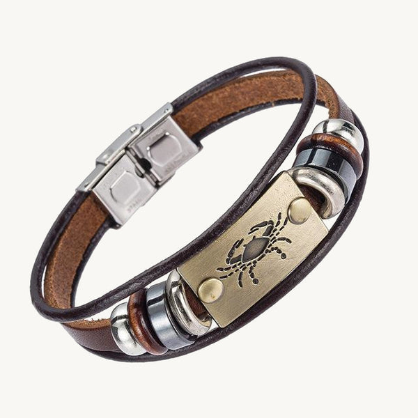 Leather Zodiac Bracelet With Stainless Clasp - TacGarb