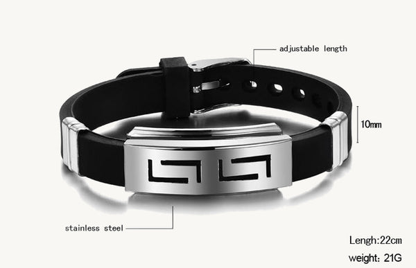 Silicone and Stainless Steel Men's Bracelet - TacGarb