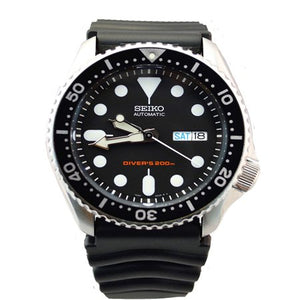 Seiko Men's Diver's Automatic Black Dial Rubber Band Watch SKX007K - TacGarb