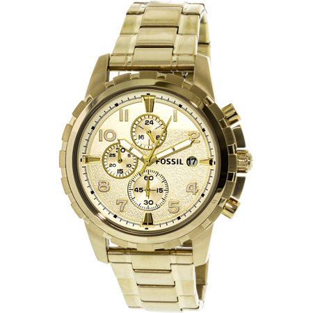 Fossil FS4867 Dean Chronograph Gold Tone Stainless Steel Case Men's Watch, Gold - TacGarb