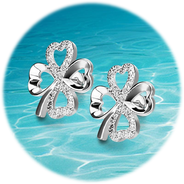 Four Leaf Heart of Diamond Earring Set™️