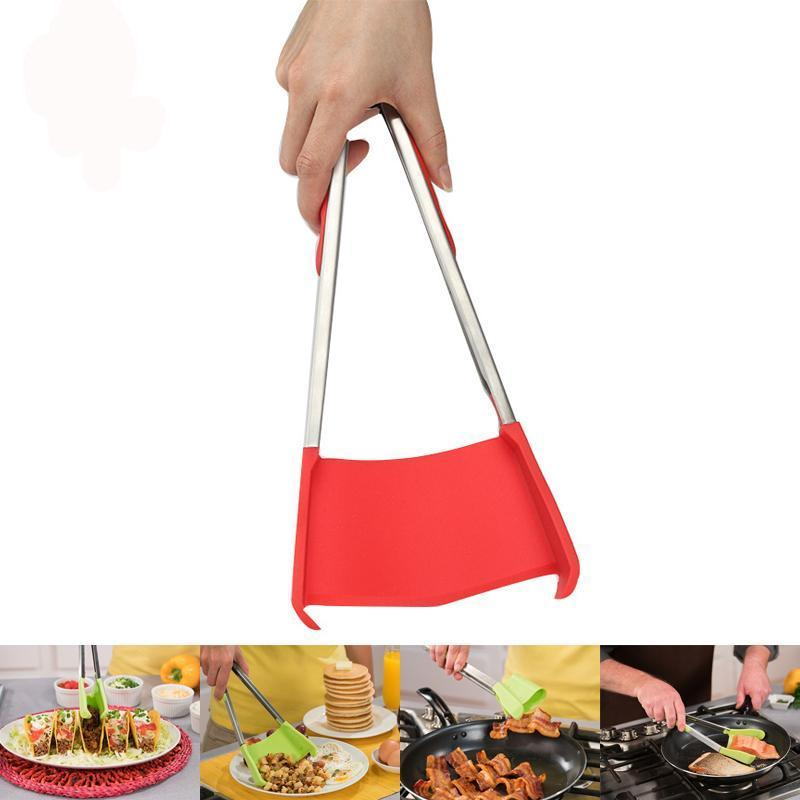 2-in-1 Non Stick Silicone Tongs