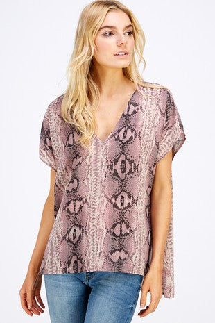 Pink Toned Snake Print Top