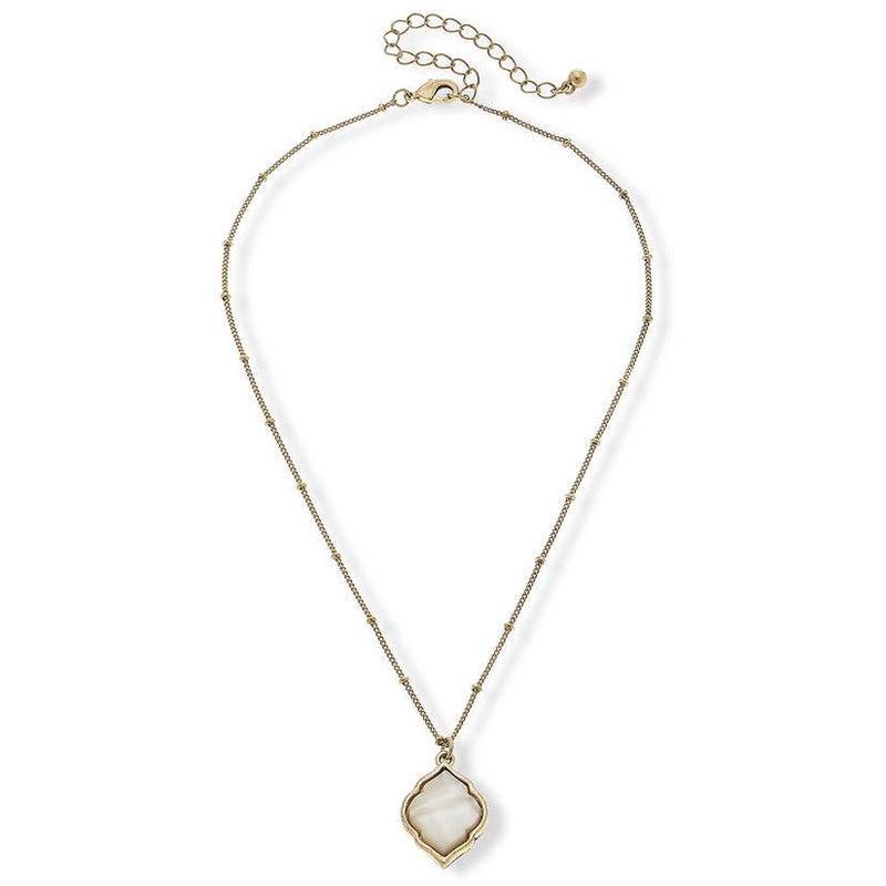 Vivian Necklace in Grey Mother of Pearl