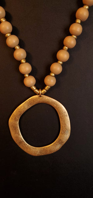 Black, Ivory, Tan, or Grey - Wooden Bead Necklace with Hammered Gold Ring Detail