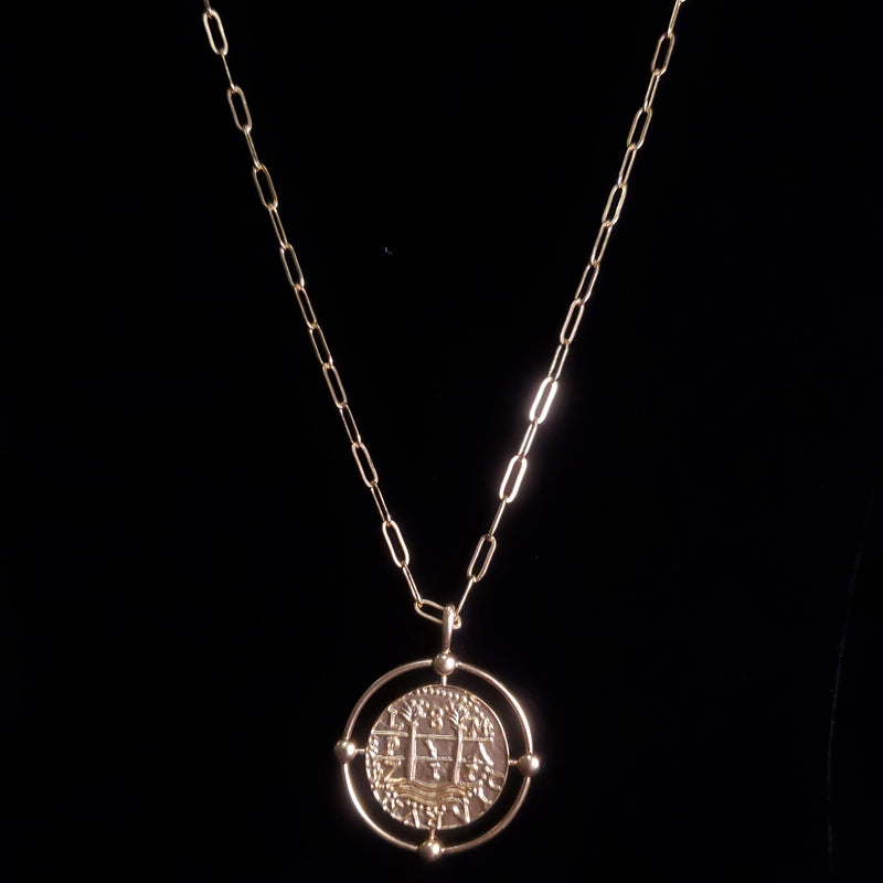 Coin & Circle Long Necklace