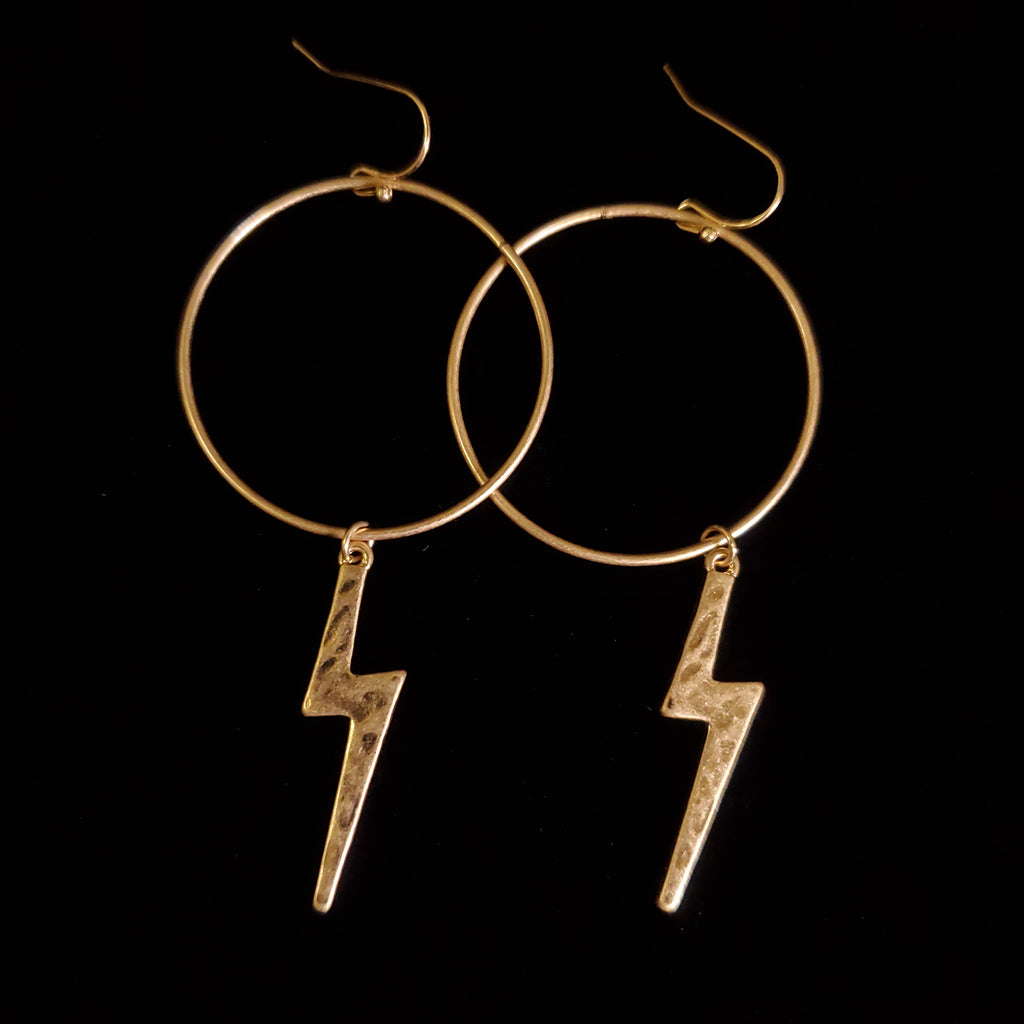 Circle & Lightning Earrings