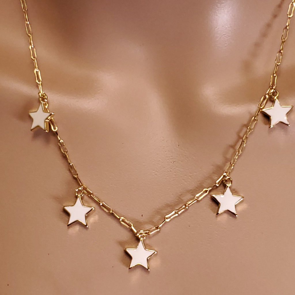 White Epoxy Star Necklace