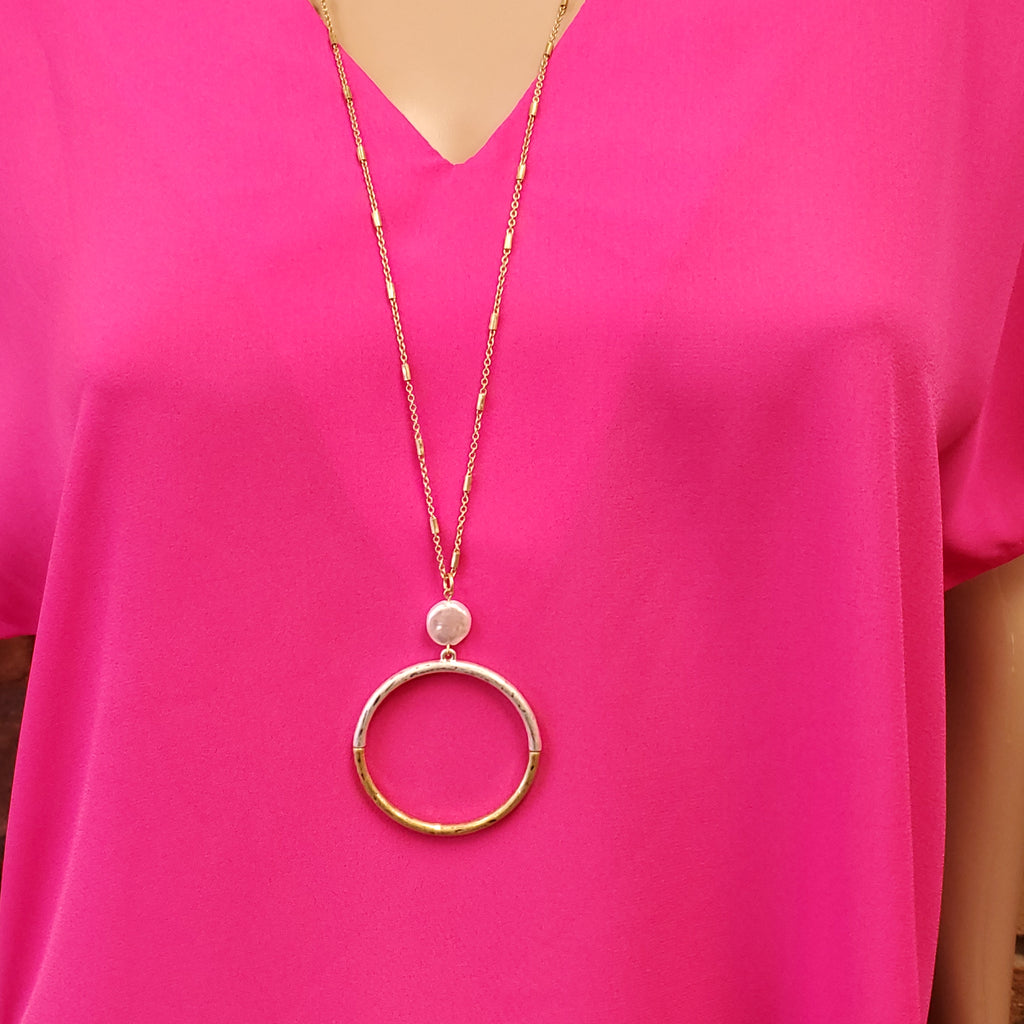 Two-Tone Circle & Pearl Necklace