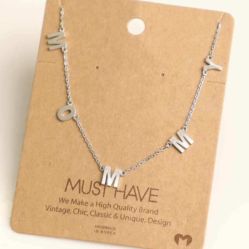 "Silver ""Mommy"" Charm Necklace"