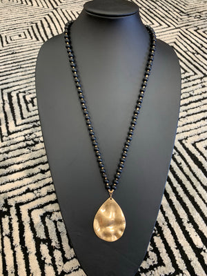 TAN, BLACK, OR IVORY Beaded Necklace w/Gold Hammered Drop