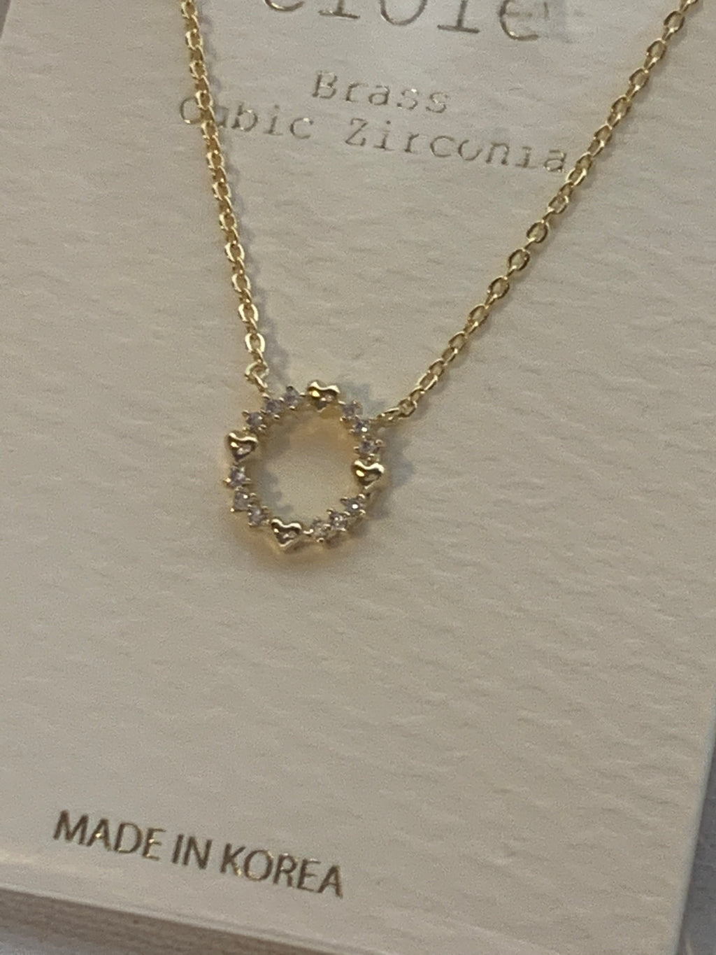Cubic Zirconia Circle Heart Necklace