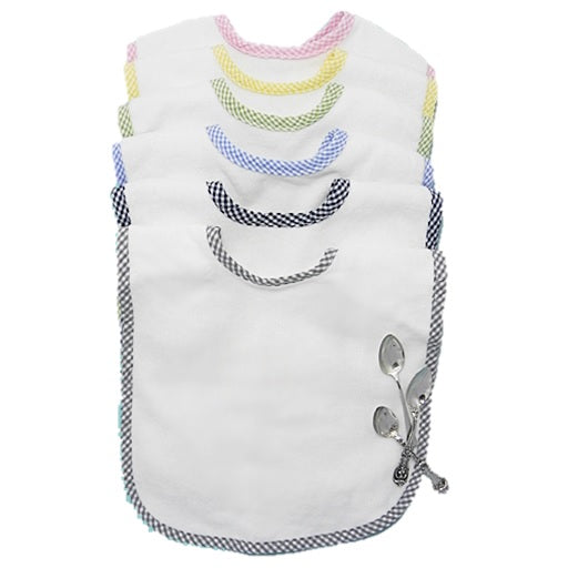 Gingham Trim Bibs Custom Embroidered