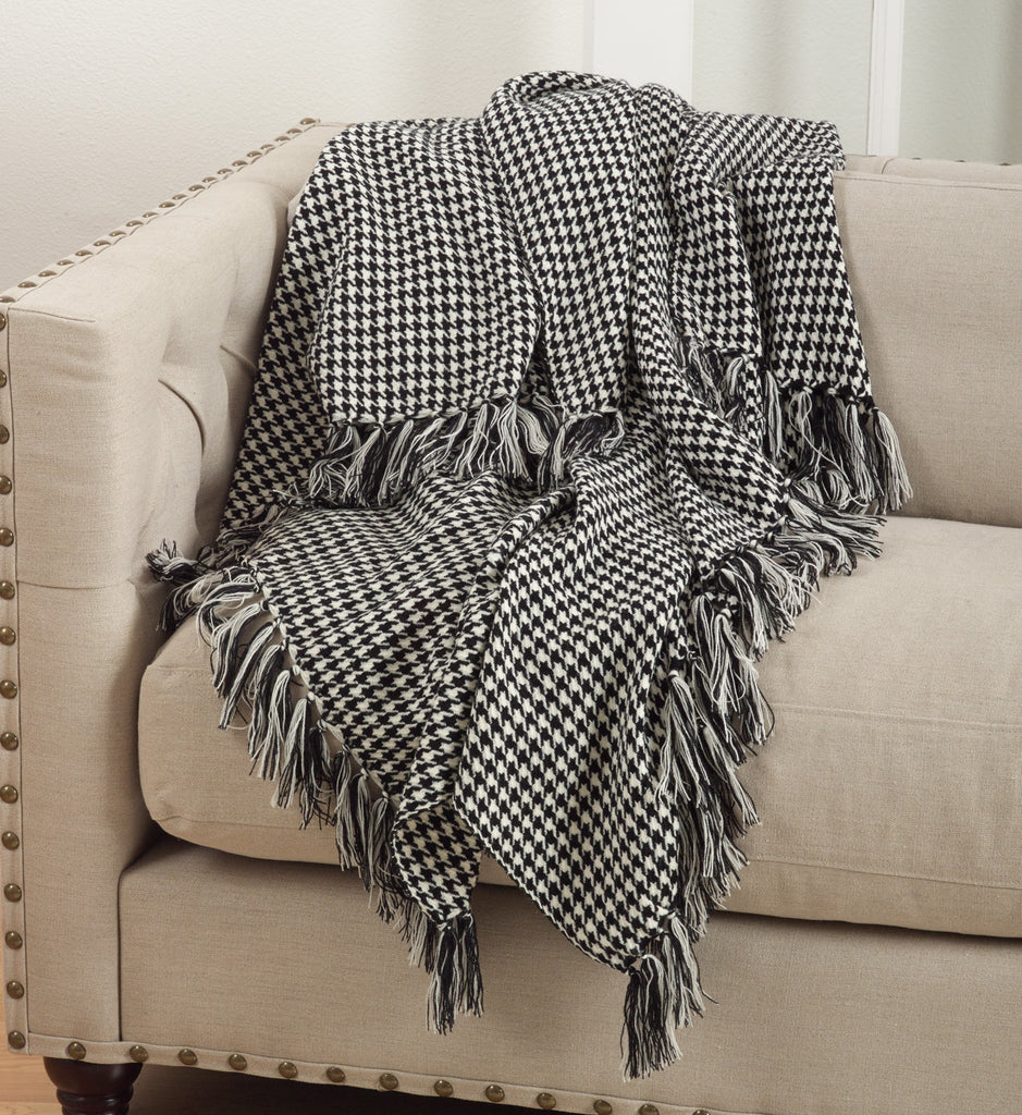 Houndstooth Throw Custom Embroidered