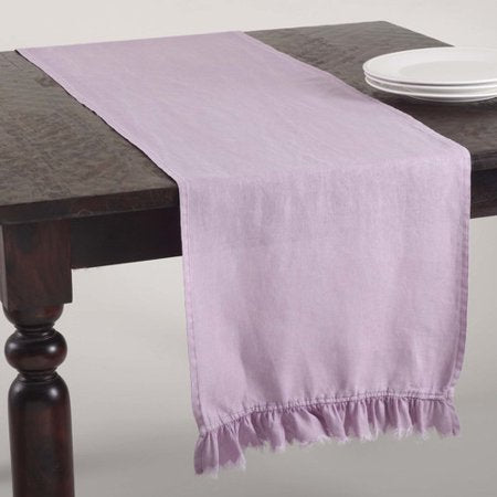 Ruffled Stone Washed Table Runner