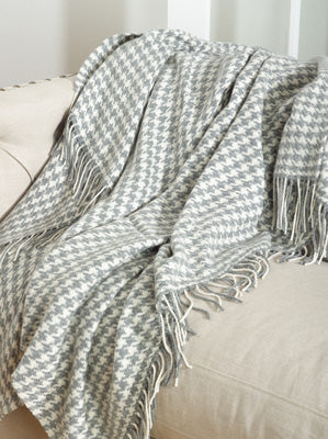 Wool Houndstooth Throw Custom Embroidered