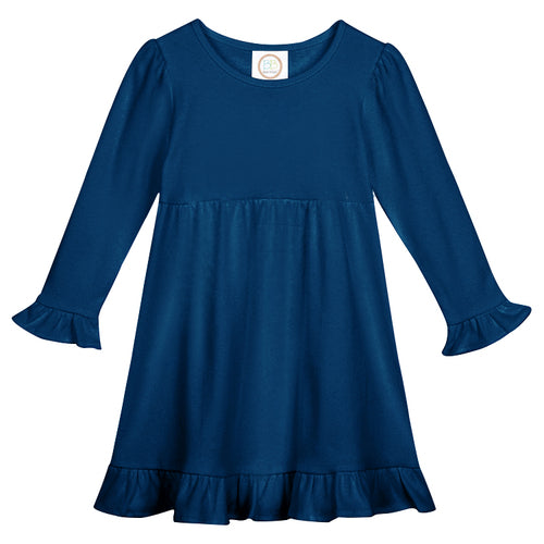 Girls Long Sleeve Ruffle Trimmed Dress with Personalized Applique