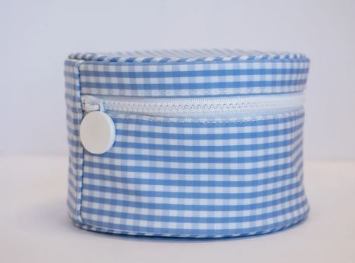 Gingham Round Zip Bag