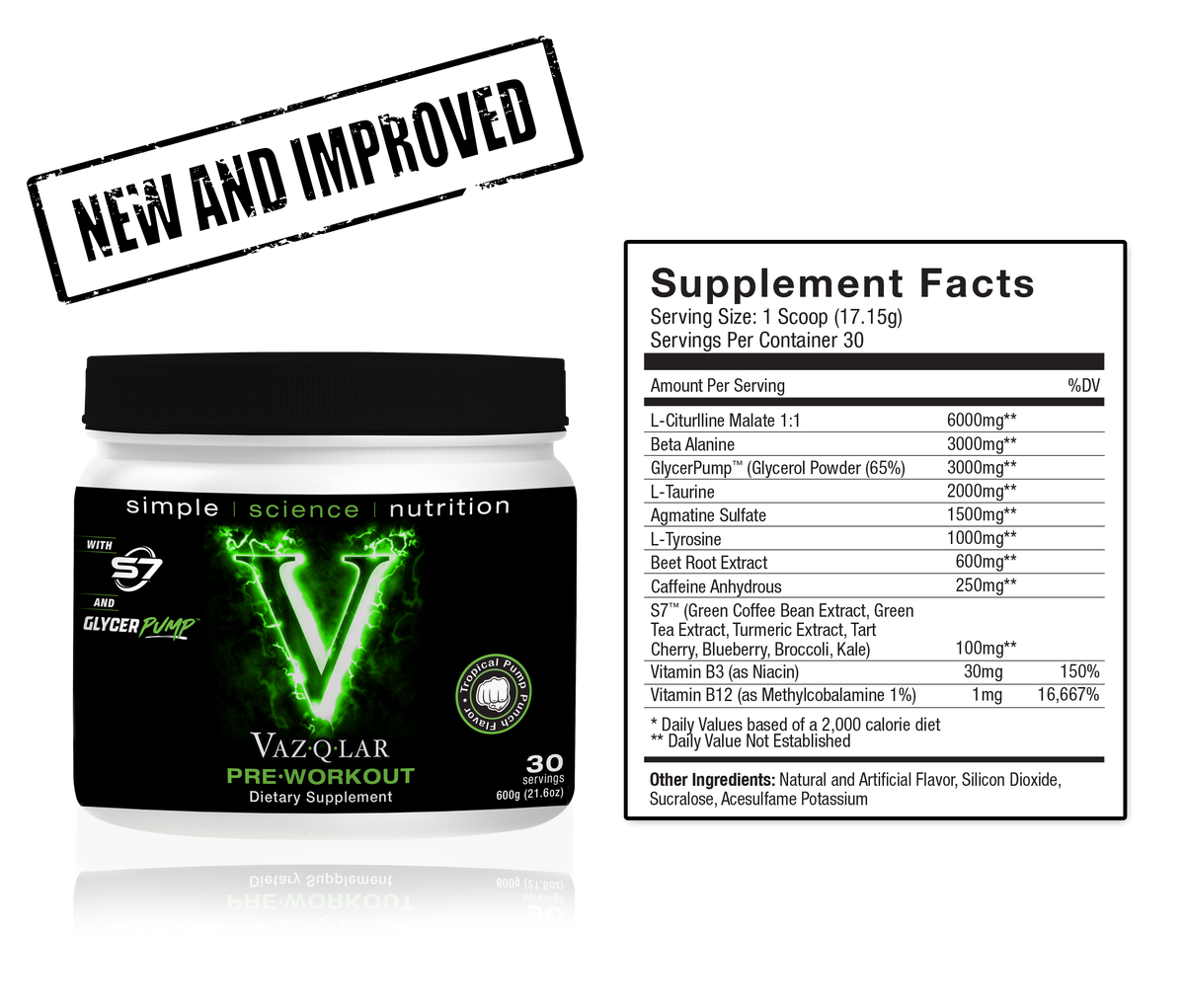 vaz•q•lar Pre-Workout Dietary Supplement : Tropical Pump Punch Flavor