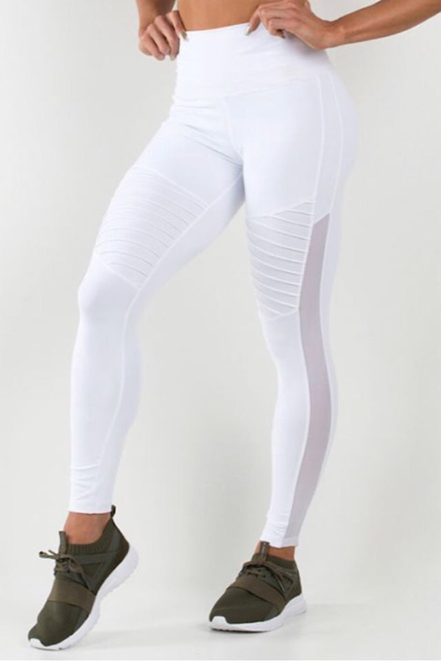 Ryderwear White Apex tights, high performance tights, ventilation mesh panels, tummy tucking waistband, four-way stretch, moisture wicking, squat proof leggings, activewear for women, fitwear, fitness wear, fitness apparel, athletic wear, athletic apparel, athleisure, workout wear