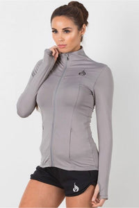 Ryderwear Grey Extend Jacket, brushed jersey, fitted design, smooth front zip, thumb holes, four-way stretch, coverup, yoga top, athletic wear, athletic apparel, fitwear, fitness wear, fitness apparel, athleisure, activewear for women