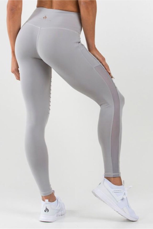 Ryderwear Grey Apex tights, high performance tights, ventilation mesh panels, tummy tucking waistband, four-way stretch, moisture wicking, squat proof leggings, activewear for women, fitwear, fitness wear, fitness apparel, athletic wear, athletic apparel, athleisure, workout wear